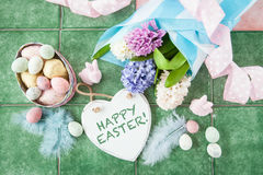 Easter decoration and flowers Stock Photos