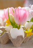 Easter decoration with flowers Stock Photos