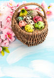 Easter decoration with flowers and eggs in basket Royalty Free Stock Photo