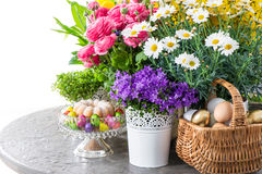 Easter decoration flowers, eggs, cake. Campanula, forsythia, dai Stock Photo