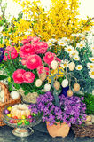 Easter decoration with flowers, eggs, cake vintage Royalty Free Stock Image