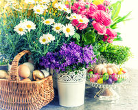 Easter decoration flowers, eggs, cake. Vintage style toned Stock Photography