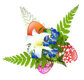 Easter Decoration. With Flowers, Eggs and Fern Over White Background Royalty Free Stock Photography