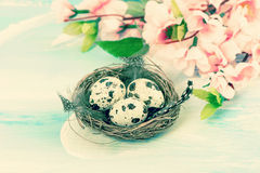 Easter decoration with flowers and eggs. Retro style Stock Image
