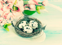 Easter decoration with flowers and eggs. Retro style toned Royalty Free Stock Image