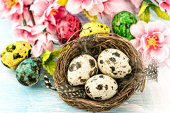Easter decoration with flowers and eggs. Springtime Royalty Free Stock Image