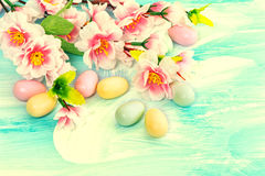 Easter decoration with flowers and eggs. Springtime Royalty Free Stock Images