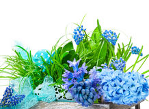 Easter decoration, flowers in wooden box Stock Photo