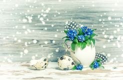 Easter decoration Forget me not flowers egg shell Vintage toned Stock Photography