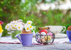 Easter decoration in garden Stock Image