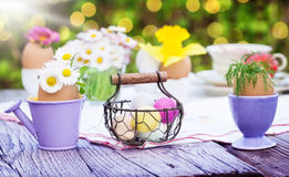 Easter decoration. On the garden table Royalty Free Stock Photography
