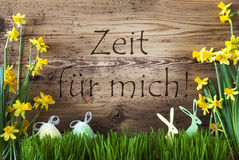 Easter Decoration, Gras, Zeit Fuer Mich Means Time For Me Stock Photo
