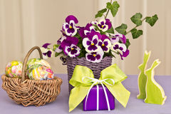 Easter decoration in green-purple Royalty Free Stock Image