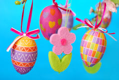 Easter decoration with hanging eggs Stock Photography