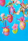Easter decoration with hanging eggs Royalty Free Stock Image