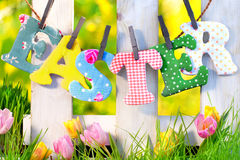 Easter decoration at home in garden Stock Photo