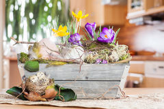 Easter decoration at home. Easter decoration idea flowers boquet at home Stock Image