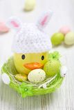 Easter decoration with little duck and eggs Royalty Free Stock Image