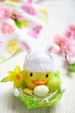 Easter decoration with little duck and eggs Stock Image