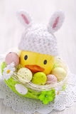 Easter decoration with little duck and eggs Royalty Free Stock Images