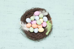 Easter. Decoration with nest and eggs Royalty Free Stock Photos