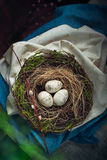 Easter decoration - a nest with wooden eggs Stock Image