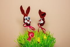 Easter decoration with bunnies and hen stock images