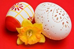 Easter decoration with pierced egg Stock Photos