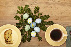 Easter decoration, plate with cake and coffee cup Royalty Free Stock Images