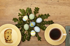 Easter decoration, plate with cake and coffee cup Royalty Free Stock Photo