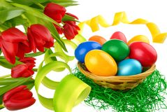 Easter decoration on pure white Royalty Free Stock Image