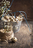 Easter decoration with quail eggs and branches Stock Photo