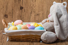 Easter decoration with rabbit and eggs Stock Image