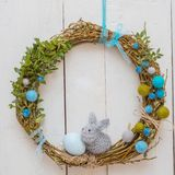 Easter decoration with a rabbit stock photography