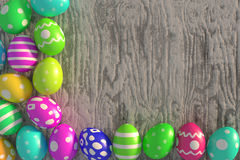 Easter decoration. Rendered colorful easter eggs on the old rough plank Royalty Free Stock Photos