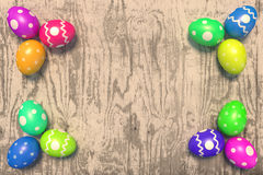 Easter decoration. Rendered colorful easter eggs on the old rough plank Stock Photography