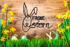 Easter Decoration, Spring Flower Calligraphy Frohe Ostern Means Happy Easter royalty free stock photos