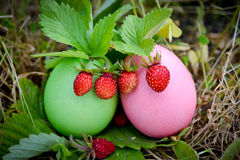 Easter decoration with strawberries Royalty Free Stock Photography