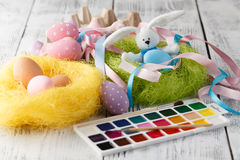 Easter decoration on table with pastel color eggs Royalty Free Stock Photography