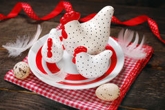 Easter decoration with three white hens on plate Stock Image