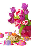 Easter decoration with tulips Stock Photo