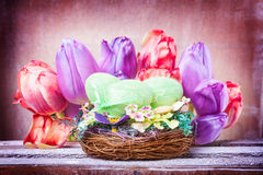 Easter decoration, tulips Stock Images