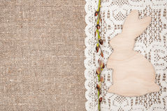 Free Easter Decoration With Wooden Rabbit And Lace Stock Image - 39100911