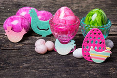 Easter decoration on wood Stock Photos