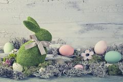Easter decoration. On a wooden background royalty free stock image