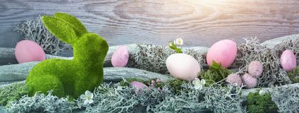 Easter decoration. On a wooden background stock photo