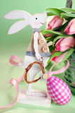 Easter decoration with wooden bunny Royalty Free Stock Photos