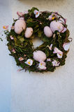 Easter decoration wreath with eggs and  flowers Stock Images