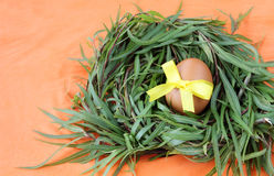 Easter decoration: yellow egg with lace ribbon in green grass twigs nest on orange background Stock Photos