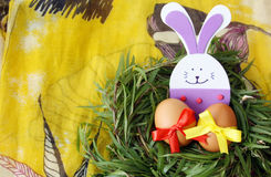 Easter decoration: yellow eggs and hand made festive plastic foam bunny in green grass twigs nest on yellow background Royalty Free Stock Images